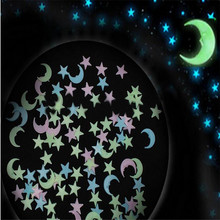 100PCS=1LOT Mixed colors Glow in the dark Stars Moon Wall Sticker 3D Luminous DIY Room Ceiling Decor Wall stickers for kids room