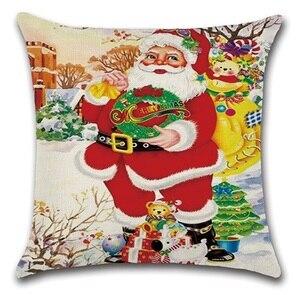 Image 4 - 2 יחידות הנורה צבי חג המולד סנטה גרבי עץ חדר שינה ספת כרית מקרה כרית כיסוי כרית כיסוי כרית דקורטיבי בית מתוק