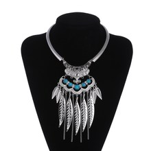 2017 Fashion Bohemian Maxi Choker Necklace Leaves Tassel Collares Collier Femme Necklace Vintage Statement Necklace For Women