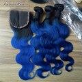 7A Ombre Brazilian Virgin Hair Body Wave 3Bundles Ombre Brazilian Hair Weave Bundles 1B/blue Ombre Human Hair Extensions