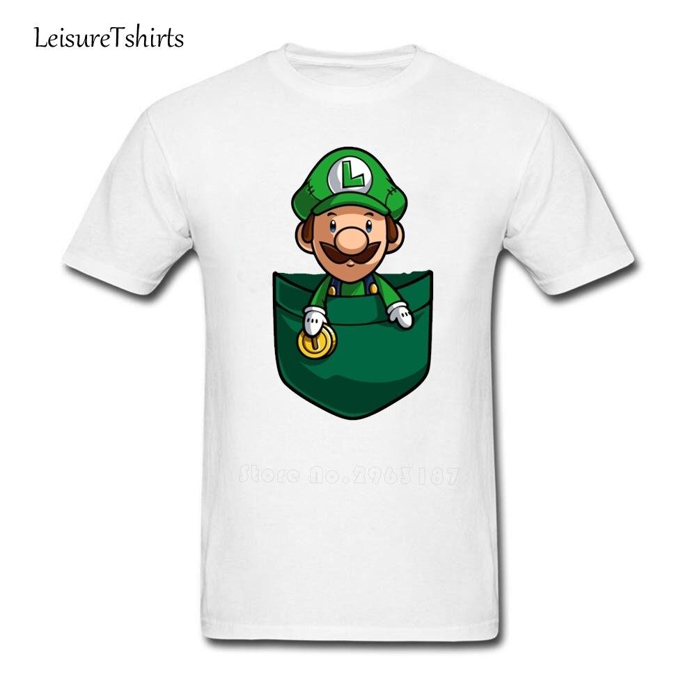 bd952e2d6 Pocket Luigi T Shirt Male New Arrival Simple Camisetas 2018 Custom Made T- Shirts Men's Short Sleeve O Neck Novelty Teenboys Tees