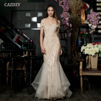 2018 Robe De Soiree Diamond Evening Party Dress Nude Color Tulle Gold Party Occasion Formal Long Evening Dress CAZDZY