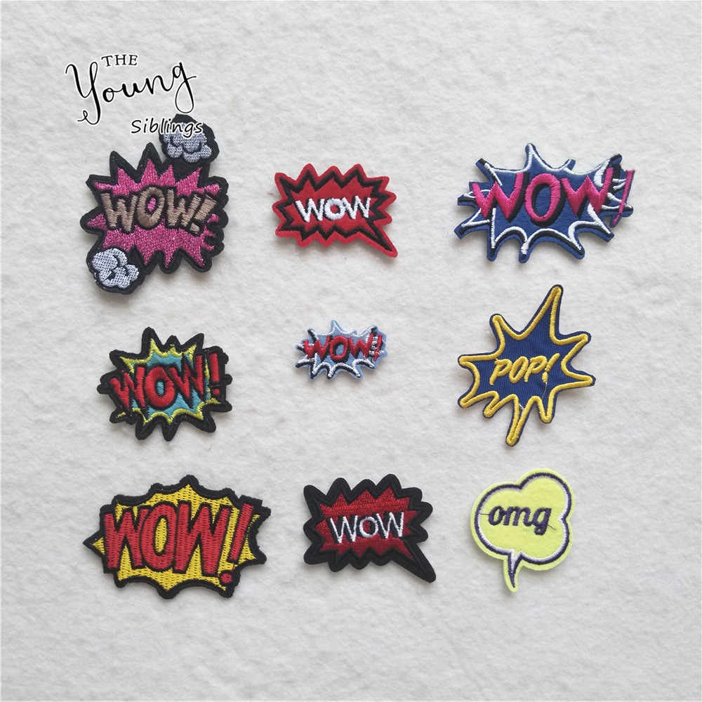 Different style 1PCS Letter WOW iron on patches Embroidered Applique DIY Clothing Shoes Bags Accessories Stripes Stickers badges