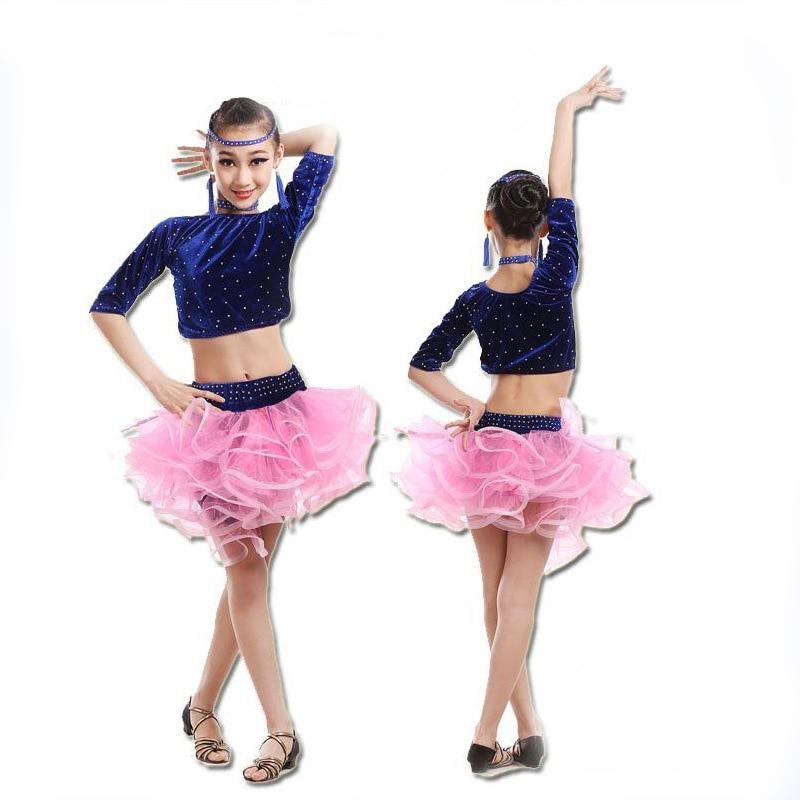 Modern Girl Latin Dance Dress For Girls Kids Dance Costumes Salsa Tango Skirt Ballroom Dancing Dress Child Competition Dancewear