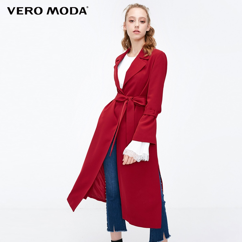 Vero Moda Women's Slim Fit Split Hemline Concealed Buttons Minimalist Trench Coat | 318321535