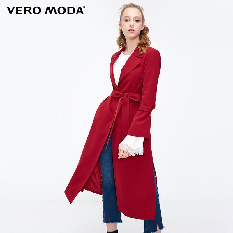 Vero Moda Women's Slim Fit Split Hemline Concealed Buttons   Trench   Coat | 318321535