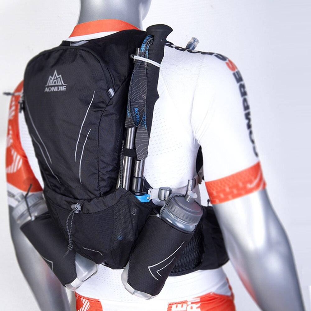 AONIJIE 15L gran corriendo bolsa con 2 piezas de botellas de 600ml al aire libre maratón reflectante senderismo ciclismo mochila hidratación chaleco paquete - 6