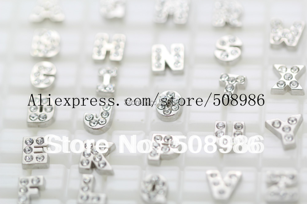 Floating charms CRYSTAL accent initials A B C D E F G H I J K L M N O P Q R S T U V W X Y Z no glass locket Xmas gift