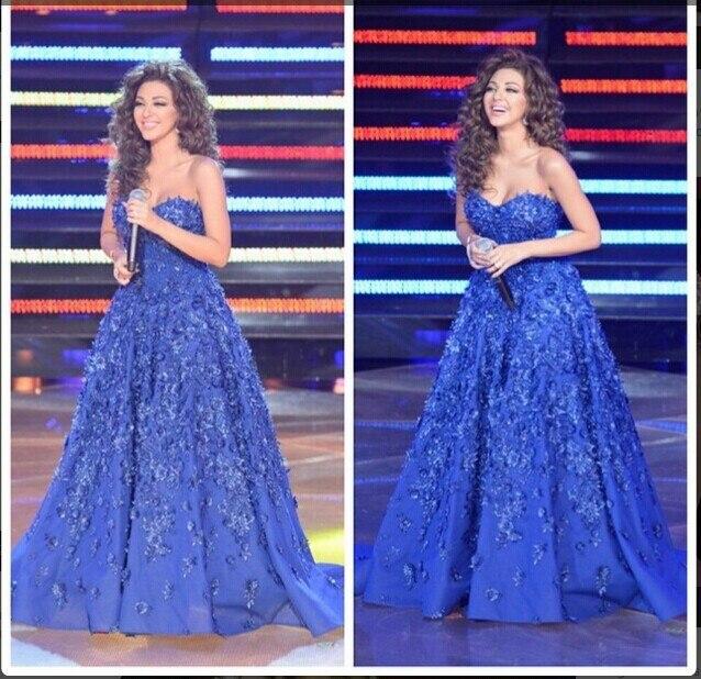 Mf15 nueva abiye Myriam Fares Royal Blue Top Crop Prom vestidos rebordear Sweetheart Dubai de noche vestidos de noche vestidos gece elbisesi