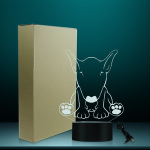Image 5 - Carino Forma di Cane Da Pastore Disegno per Il Cliente di Nome 3D Optical Illusion Luce di Notte Incandescente LED Visivo Lampada Pet Puppy Lover Regalo