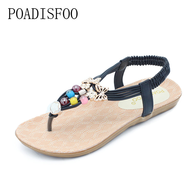 POADISFOO 2017 New fashion bohemian style summer Multicolor Beads sandals comfy women's flat with Open S For Women .HYKL-558 poadisfoo 2017 new summer style slip on women sandals flats for women black white color slippers shoes women hykl 1603