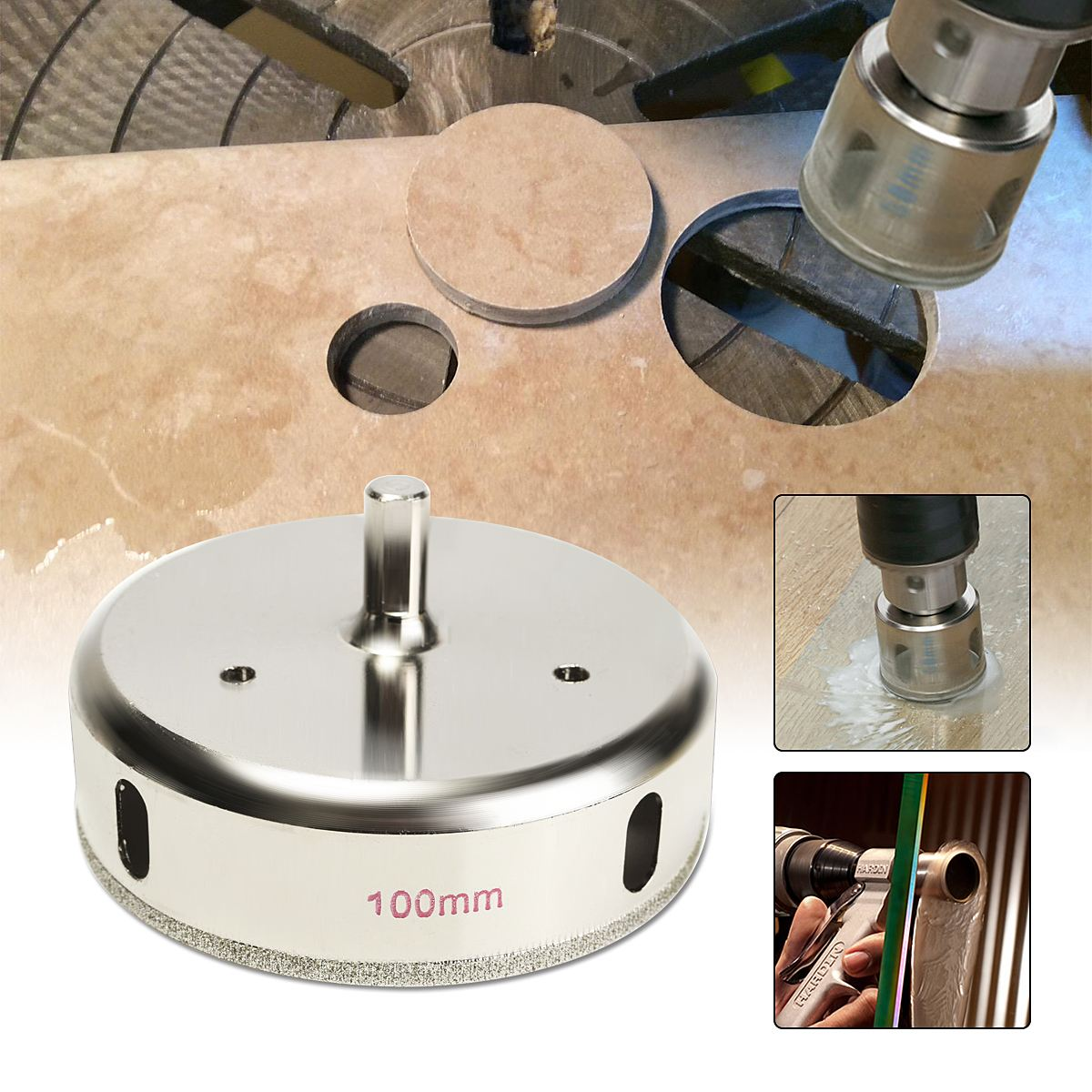 100mm 4 inch Diamond Coated Drill Bit Hole Saw Cutter Glass Tile Ceramic Marble Drilling Power Tool doersupp 14pcs diamond hole saw coated core drill bit set tile marble glass ceramic drilling 3 70mm cutter power tool set