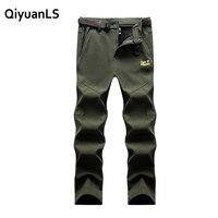 QiyuanLS Men Women Pants Winter Warm Fleece Softshell Trousers Windproof Padded Breathable Soft Man Pants Trousers