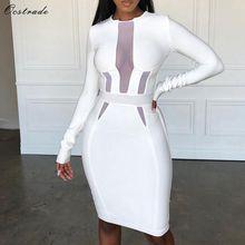 レディースセクシーなホワイト包帯ドレス長袖メッシュ包帯ドレスボディコン 2019 パーティー包帯ドレス新年 Ocstrade