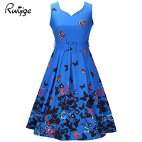 Ruiyige Vintage Dress 2017 Floral Print 1950s Style Cute Summer Party Women Dress Spring Short Sleeveless