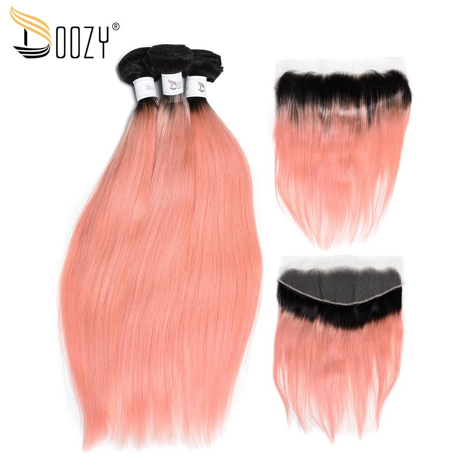 Doozy 3 Bundles Ombre Color 1b Pink Rose Gold Remy