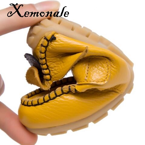 Xemonale 2018 New Boys Leather Shoes Spring/Autumn Genuine Leather Loafers Girls Single Shoes Soft bottom Student Casual Flats
