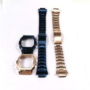Image 3 - Correas de reloj de acero inoxidable y bisel, pulsera de reloj apta para reloj serie DW5600 GW M5610 GW5000, con herramientas al por mayor