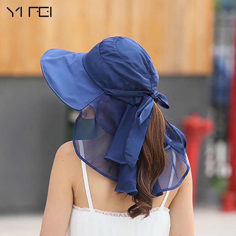 Sombreros Mujer Verano large bord été visière casquettes Anti-UV Chapeu Feminino soleil chapeaux avec visage cou Protection pour les femmes
