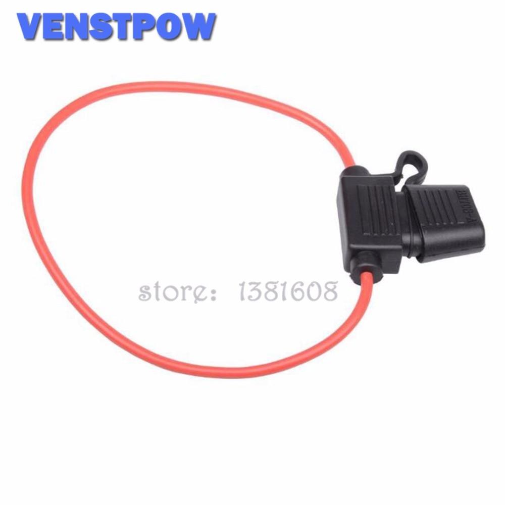 Vehicle Car Waterproof Blade Inline Fuse Holder Case Black Red 6V-32V max 30A