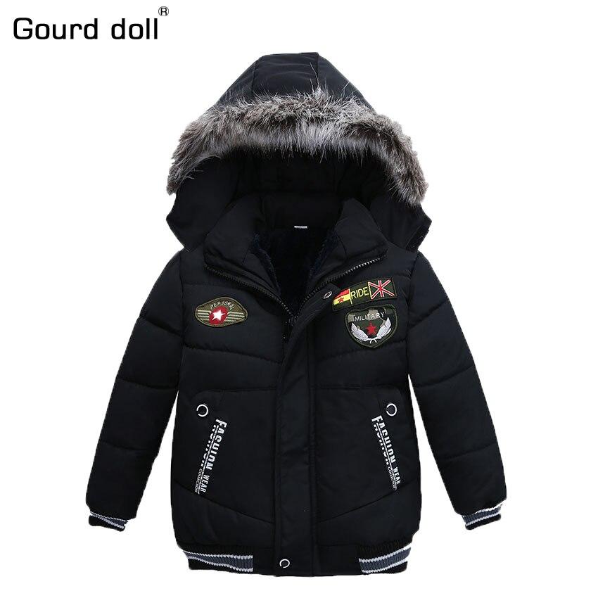 цена на 3-5T New Fashion Patchwork Boys Jacket&Outwear Warm hooded Winter jackets for boy Girls coat Children Winter Clothing Boys Coat