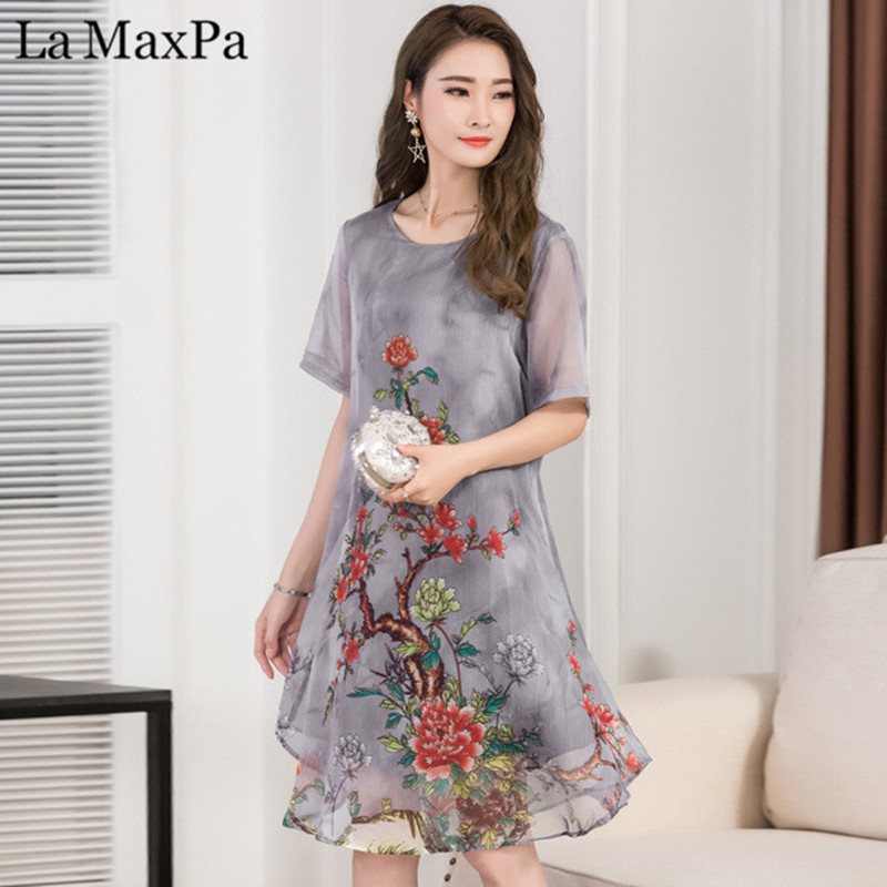 ca58477dbb46 La MaxPa 2019 Women Summer Dress Floral Print Chiffon Dress Casual O-neck  Short Sleeve