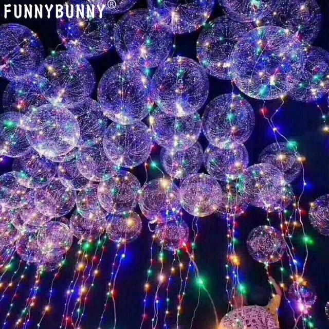 FUNNYBUNNY 18 אינץ 5 PCS Led אור עד בובו בלון מהבהב צבע למילוי בלונים שקופים עם הליום נהדר למסיבה