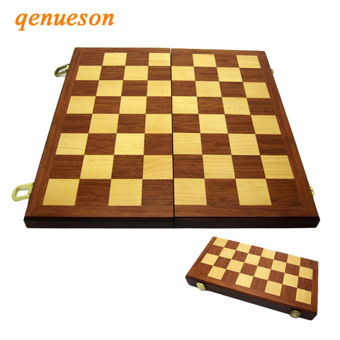 Conjunto de Xadrez de Madeira Caixa de Xadrez de Madeira Maciça sem Magnético e Peças de Xadrez Jogos de Tabuleiro de Entretenimento Alta Qualidade Dobrável 38cm *