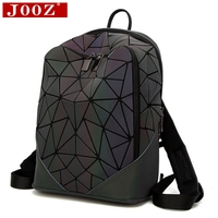 JOOZ Fashion Women Backpack PVC Geometric Luminous Backpack 2017 New Travel Bags For School Back Pack