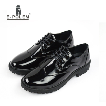 Fashion Patent Leather Work Business Mens Shoes Spring Summer Black Round Toe Casual  Vintage Male Brogue Shoes
