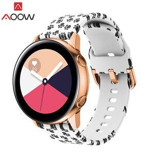 20 мм силиконовый ремешок для часов для Samsung Galaxy Watch Active 42 мм S2 Huami Amazfit Bip с леопардовым принтом, браслет, ремешок Correa