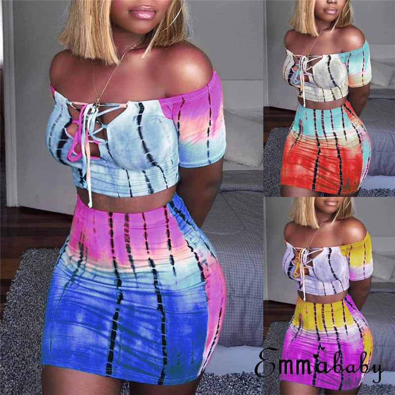 2019 Sexy Women 2 Piece Set Off Shoulder Crop Top And Skirt Bodycon Outfits Summer Slim Party Club Clothing
