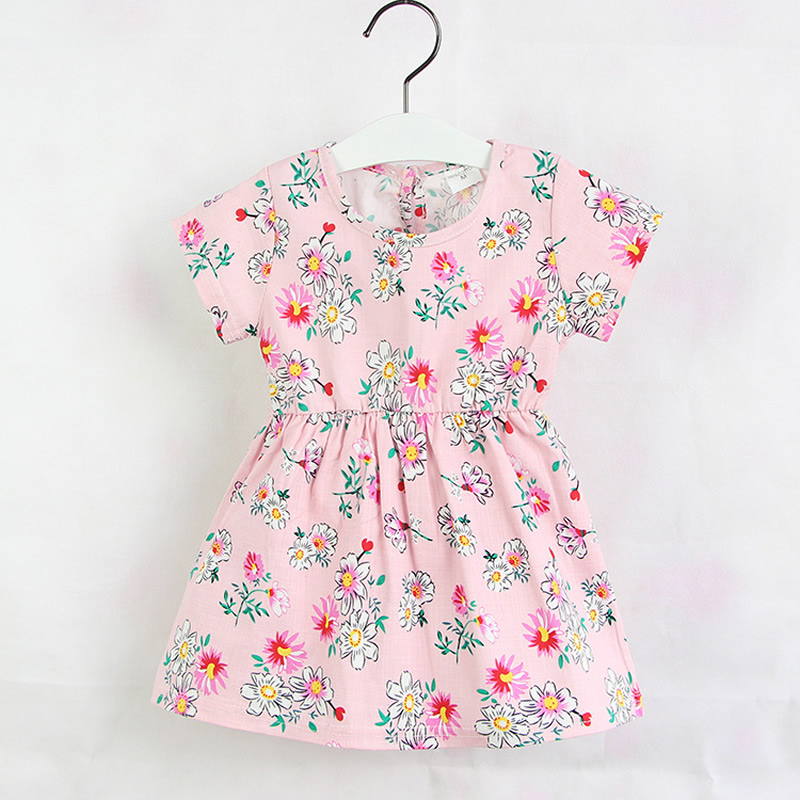 2016  Summer baby clothing 100% Cotton girls flower/polka dot pattern dresses  4 colors Short sleeve  Baby Dress Free shipping 2016 fashion summer rare editios for girls cute clothing outfits kids short sleeve bow cotton polka dot dress with pants suit