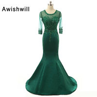 New Arrival Elegant Evening Dress Long With 3 4 Sleeves Beaded Satin Mermaid Formal Gown Mother