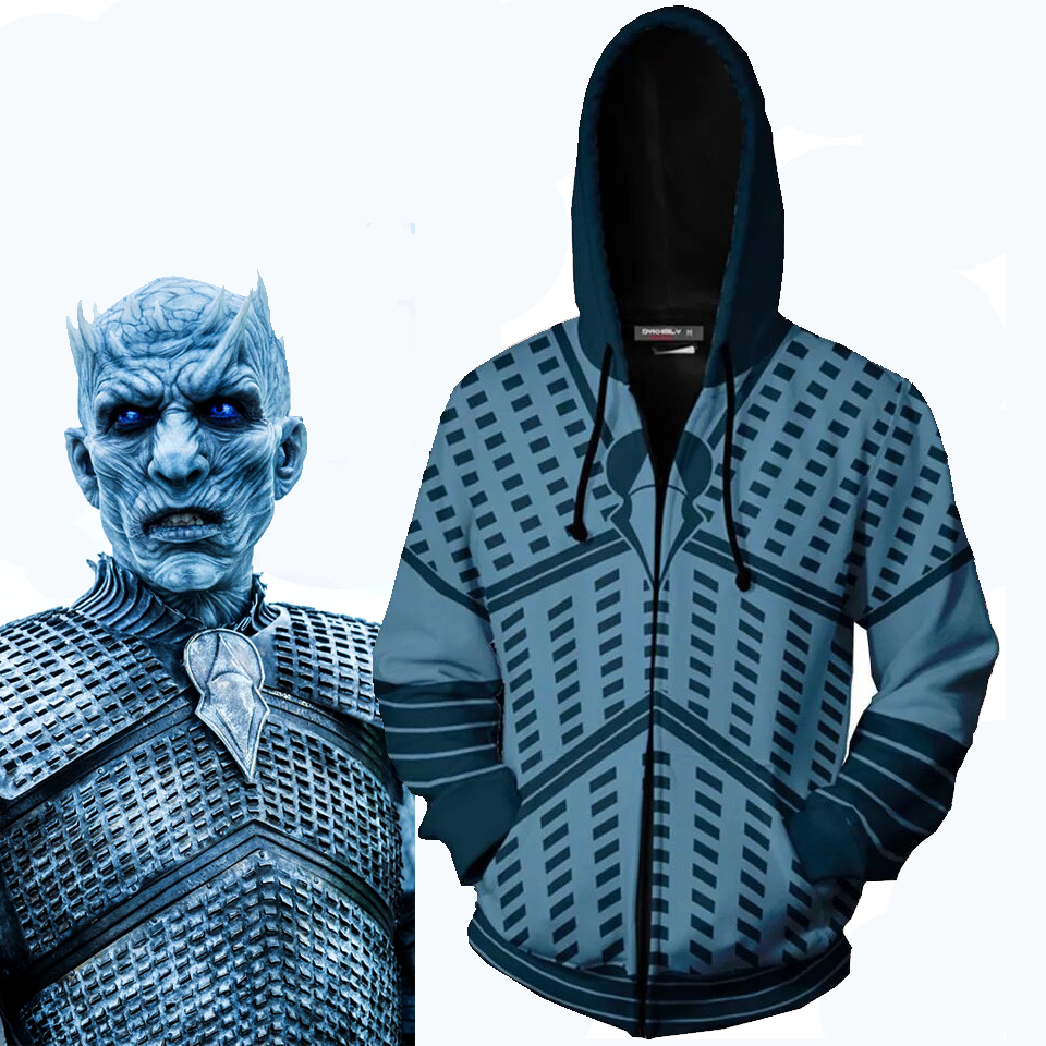 Game Of Thrones Hoodies Cosplay Night's King Costumes White Walkers' Hoodie 3D Zipper Jacket Hooded Sweatshirt Coat