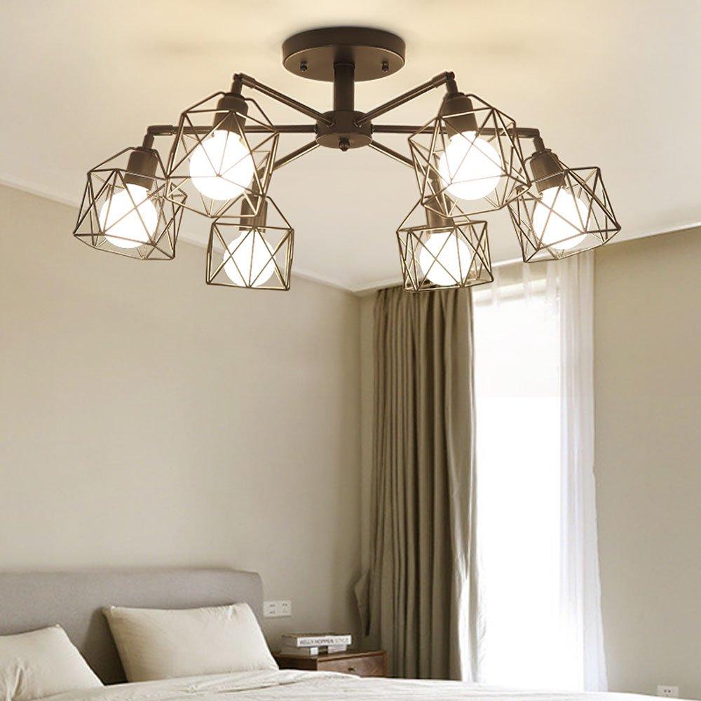 Modern Black Cage Living Room Ceiling Lamp Bar Chandelier Fixtures ...