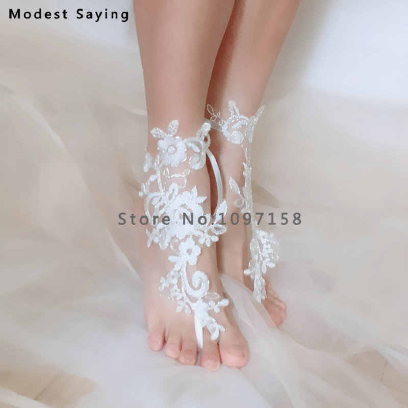 f61d647ac47a6 Elegant Ivory Lace Wedding Barefoot Sandals 2018 Free Size Anklet Shoes  With Toe Sandbeach Bridal Beach Bridesmaid Foot Jewelry