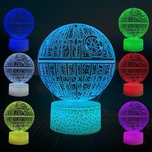Cartoon Death Star 3D Lamp LED Bulb Acrylic Plate USB Flash RGB Night Light Touch Remote Multicolor Switch Table Desk Hime Decor