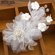Buy silk flowers for headbands and get free shipping on aliexpress metting joura wedding party long white silk flower headband with pin for women girls bride mightylinksfo