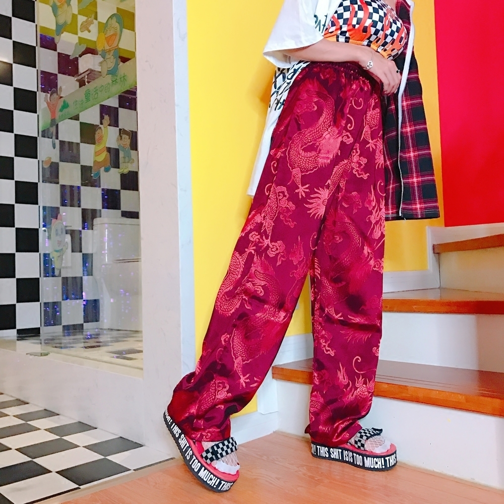 Chinese Style Dragon Embroidery Vintage Autumn   Wide     Leg     Pants   Men Women Trouser