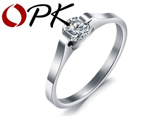 OPK Romantic Women 's Engagement Rings Prong Setting Cubic Zirconia Wedding Bands Stainless Steel Simple Design Gift  GJ254