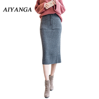 Autumn Winter New Women Medium Long Thicker Knitting Skirts Pack Hip Sweater Skirts High Waist Elastic