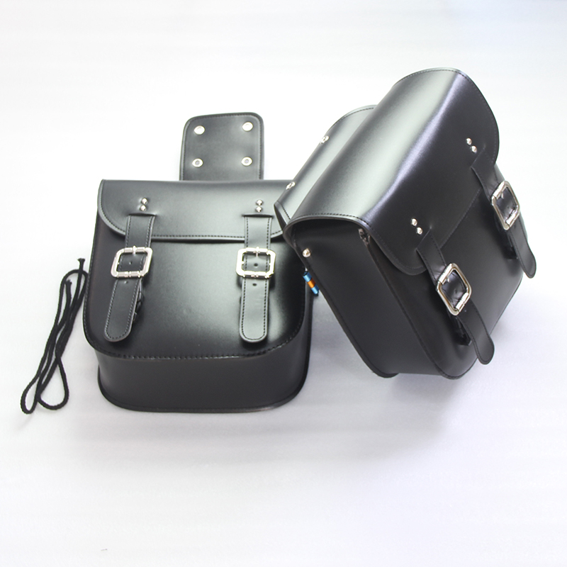 2PCS Black Motorcycle PU Leather Saddle Bags Storage Luggage Bags Side Tool Bags Touch For Harley Chopper Touring Customs