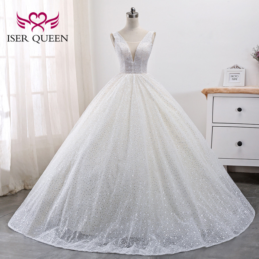 Arab Dubai Quality Wedding Dress 2019 New Arrival Crystal Beading Sleeveless Plus Size Pattern Lace Wedding Dresses WX0009