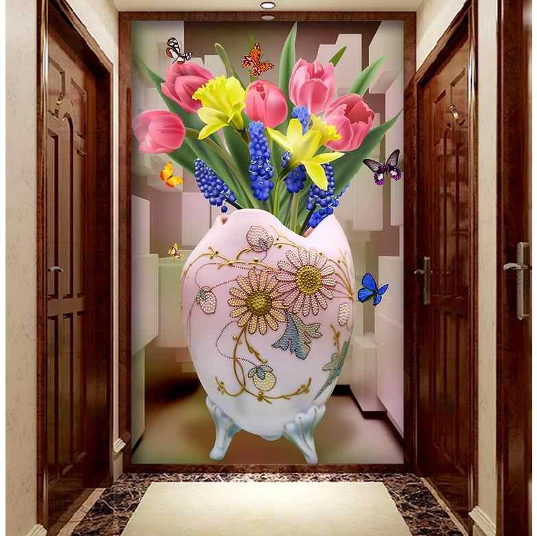 3d murales carta da parati per soggiorno ingresso wallpaper fiore Tulipano vaso 3D 3d murales carta da parati