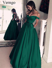 Verngo Satin A Line Prom Dress Elegant Evening Long Classic Green Formal Uzun Elbise