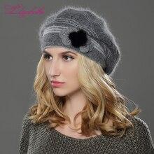 LILIYABAIHE חדש סגנון נשים חורף כובע סרוג צמר אנגורה כומתה קלאסי טלאים של מינק פרח קישוט כובע כפול כובע חם