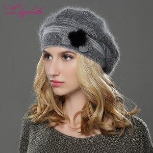 Image 1 - LILIYABAIHE חדש סגנון נשים חורף כובע סרוג צמר אנגורה כומתה קלאסי טלאים של מינק פרח קישוט כובע כפול כובע חם