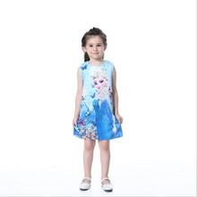 Anna Elsa Dresses for Girls Snow Queen Dress Vestidos Butterfly Flower Kids Elza Costume Clothes Summer