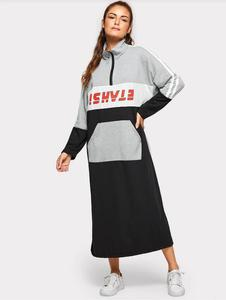 Image 3 - Spring Cotton Dress Teenagers Students Sport Long Dress Muslim Women Young Girl Casual with Pockets Zipper Patchwork Dress 968